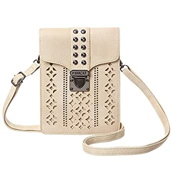 MINICAT Women Hollow Texture Small Crossbody Bags Cell Phone Purse Wallet With Credit Card Slots (Beige-Thicker(RFID Blocking))