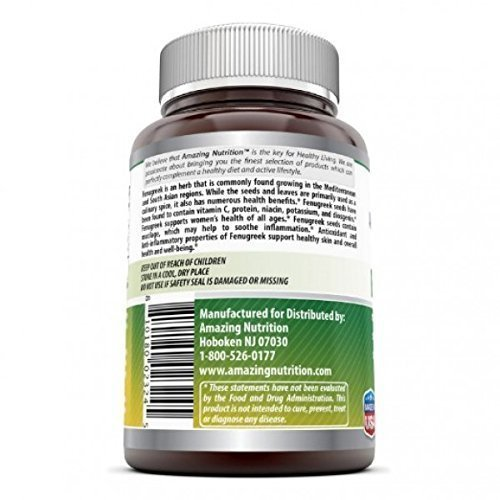 Amazing Nutrition Fenugreek Seed Supplement 180 Caps, Supports women health*: Amazon.es: Salud y cuidado personal