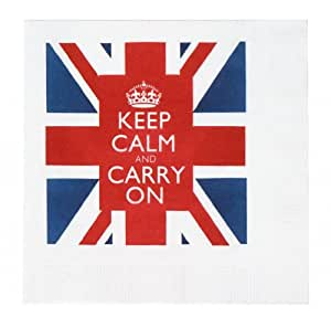 Keep Calm and Carry On Union Jack Cocktail Beverage Napkins British WWII Slogan Pack of 20