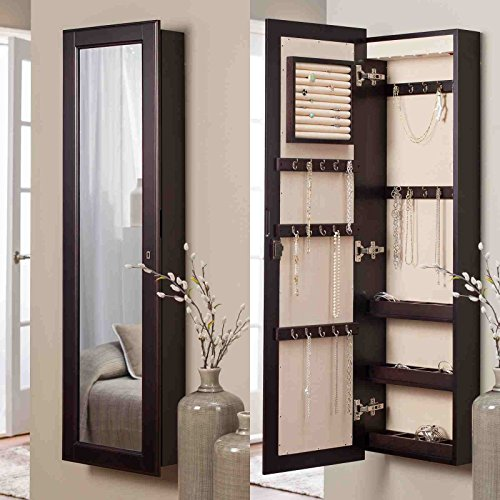 Belham Living Lighted Wall Mount Locking Jewelry Armoire - - 14.5W x 50H in. in USA