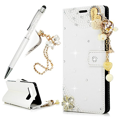 (For Galaxy Note 8 Case, Note 8 Case,Wallet Case Luxury 3D Bling Crystal Flower Diamond I Love You Pattern Heart PU Leather Anti-Scratch Cover Card Slots Bumper with Lovely Ring - Creamy White)