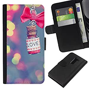 KingStore / Leather Etui en cuir / LG G2 D800 / Amor borrosas arco Bowtie luces azules