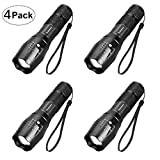 LED Tactical Flashlight, Super Bright 2000 Lumen XML T6 LED Flashlights Portable Outdoor Water Resistant Torch Light Zoomable Flashlight with 5 Light Modes (4 Pack)