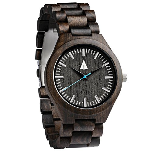 Treehut Men's Black Ebony Wooden Watch with All Wood Strap Quartz Analog with.