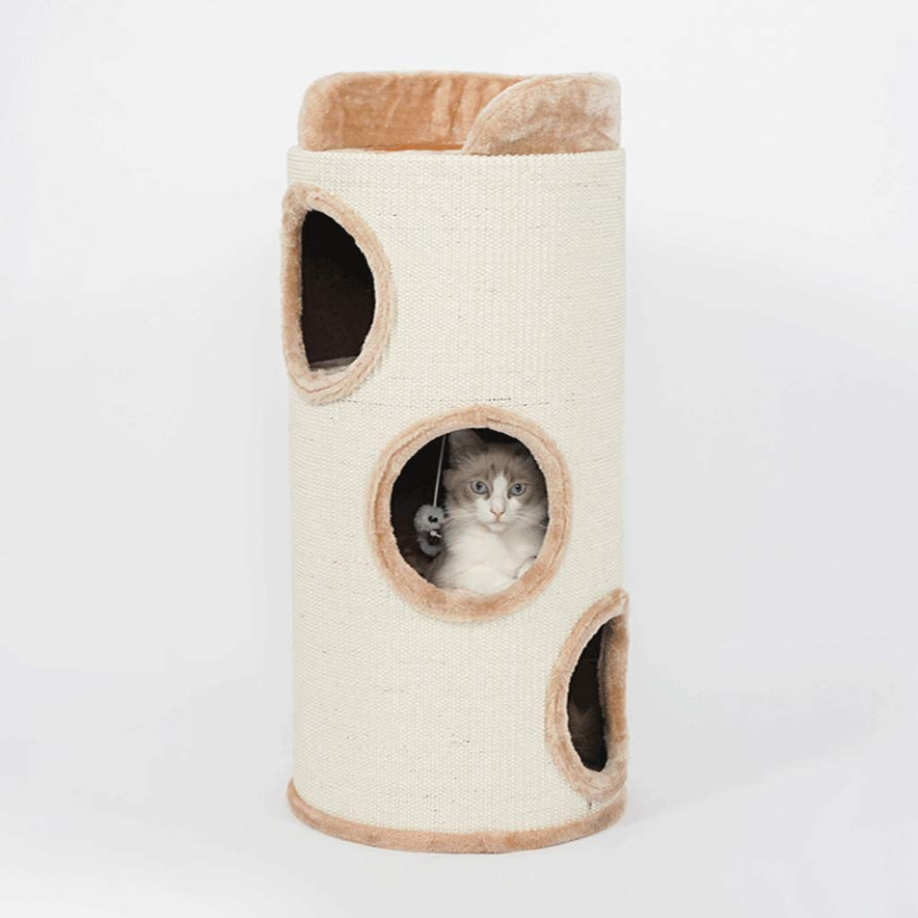 Beige 8030cm Pet Nest Sisal Cat Litter Three-Story House Sisal Barrel Cat Socket Stool Removable Toiletries (color   Beige 80  30cm)