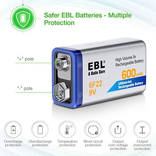 EBL 12-Counts Rechargeable 9V Batteries Li-ion 9V Battery by EBL (Image #1)