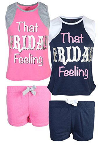 dELiA*s dELiAs Girl\'s Varisity Pajama Sleepwear Short Set, That Friday Feeling, Size 7/8'