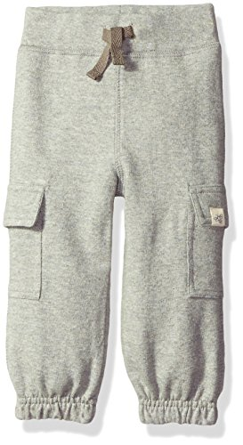 Burt's Bees Baby Baby Boys' Organic French Terry Cargo Pant, Heather Grey, 3-6 Months