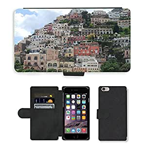 "Hot Style Cell Phone Card Slot PU Leather Wallet Case // M00171421 Amalfi Coast Positano Italy Coast // Apple iPhone 6 PLUS 5.5"""