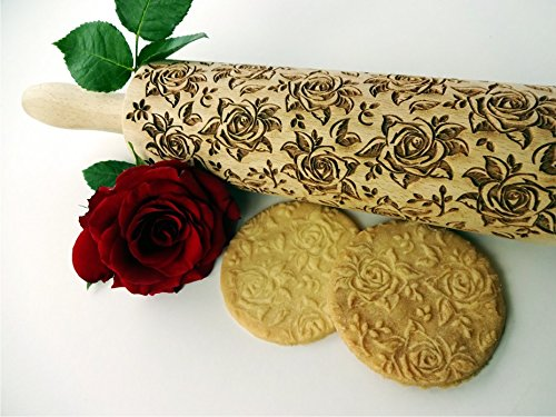 Rolling pin BLOSSOMS WALTZ. Wooden embossing rolling pin with Oriental flowers. Embossed cookies. Pottery. Birthday gift. Gift for mother