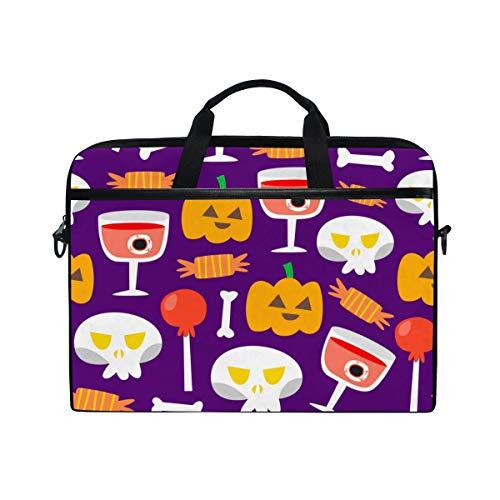 TARTINY 15-15.4 Inch Laptop Bag Seamless Halloween Pumpkin Candy Skull Bone Shoulder Messenger Bags Sleeve Case Tablet Briefcase with Handle Strap]()