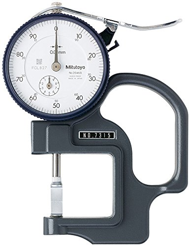 Mitutoyo 7315 Dial Thickness Gage, Groove Thickness Blade Anvil, 0-10mm Range, 0.01mm Graduation, +/-15 micrometer Accuracy