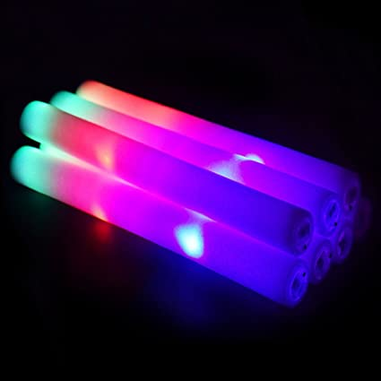 blu7ive 121 pcs led foam sticks rgb color changing glow sticks 3 modes