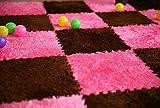 Interlocking Foam EVA Fuzzy Mat Flooring, by Homeneeds (9 piece, Chocolate & Rosemary Fuzzy Mat)