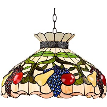Ripe Fruit 3 Light Tiffany Style Glass Pendant Light