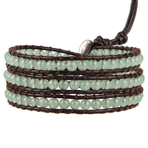 KELITCH Jade Green Stone Mixed 3 Wrap Bracelet Handmade New Charm Fashion Jewelry (Green)