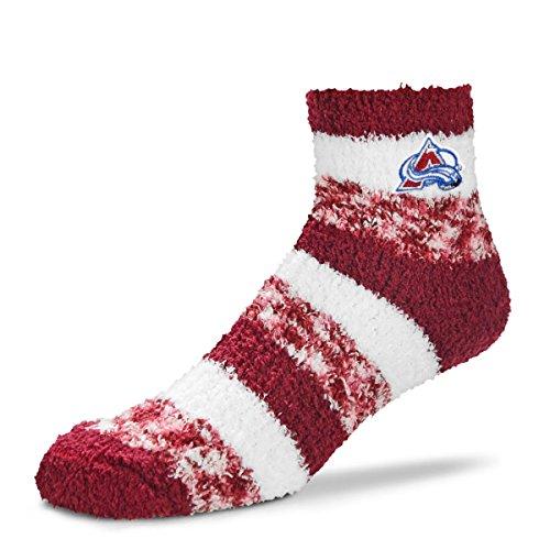 For Bare Feet NHL RMC Pro Stripe Fuzzy Sleep Soft Sock -Colorado Avalanche-Size-Medium