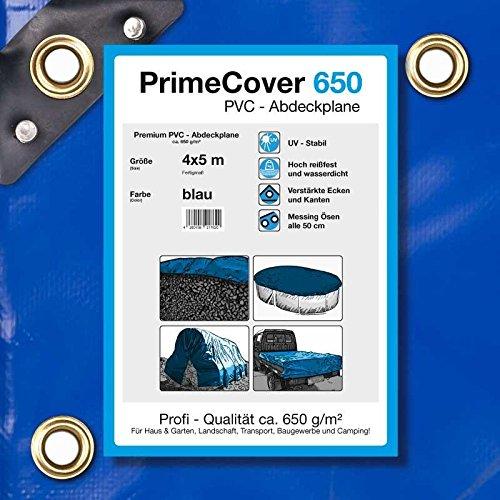 (€5,49/m²)PrimeCover PVC Abdeckplane 650 g/m² blau, Gewebeplane zur Verwendung als Holzabdeckplane, Bootsplane, LKWplane oder Schutzplane (4 x 5 mtr.)