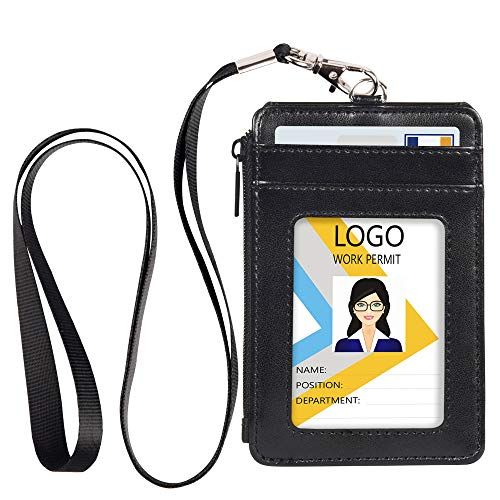 Leather Badge Holder with Zipper and Lanyard,1 Clear ID Window and 3 Card Slots with Flip Cover Protector, 1 Zipper Wallet Pocket on The Side,1 Detachable Lanyard/Strap (Black)