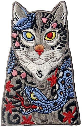 刺青猫刺繍のバッジのアイロン付けまたは縫い付けるワッペン