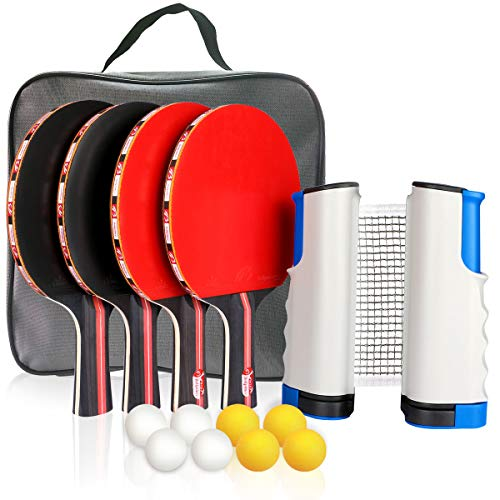 Fostoy Ping Pong Paddle,Ping Pong Paddles Set of 4 Ping Pong Paddles and 8 Table Tennis Balls, Retractable Net, Storage Bag, Perfect for Professional&Recreational Games - 2 or 4 Players - Yj Paddle