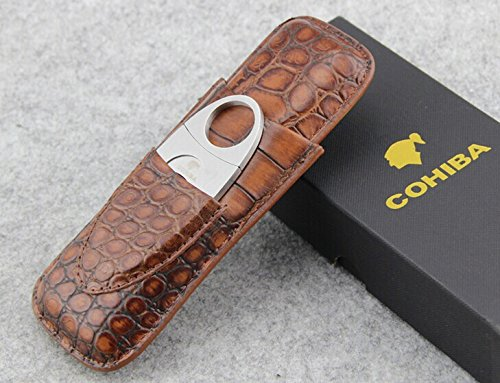 COHIBA Crocodile Embossed Leather 2 Tube Cigar Case Travel Humidor w/ Cutter New in Gift Box Brown