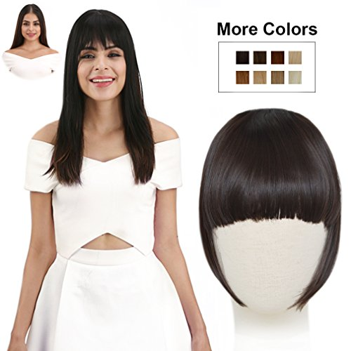 REECHO Fashion Full Length Synthetic 1 Piece Layered Clip in Hair Bangs Fringe Hairpieces Hair Extensions Color - Deep Brown]()