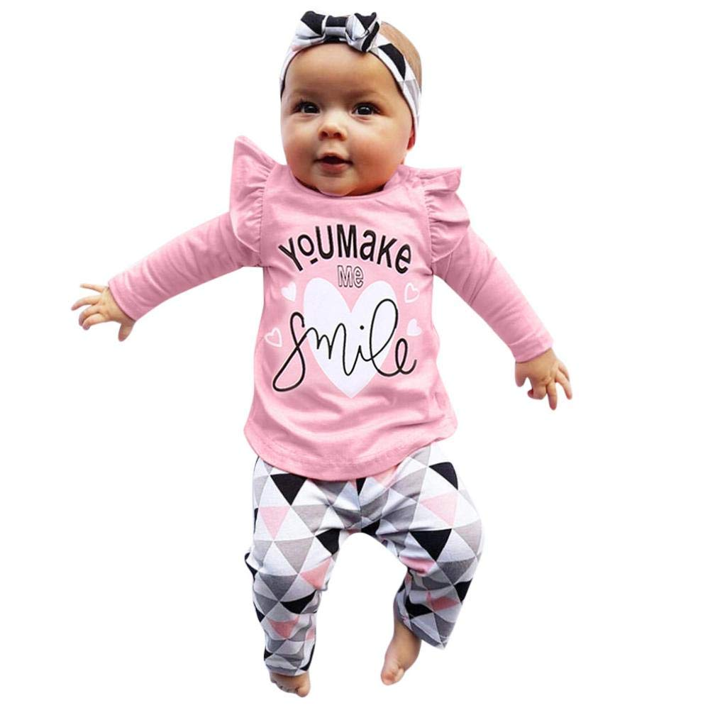 Sixcup Baby Outfits Clothes Set, Newborn Bodysuit Romper Long Sleeve Ruffle Print Tops + Geometric Pant + Cap Boys Girl Clothing Suit