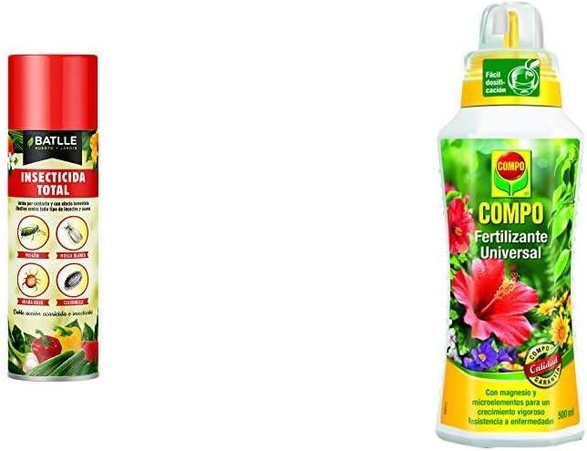 Semillas Batlle Fitosanitarios - Insecticida aeorosol, Pack de 1 x 500 ml + Compo Calidad para Plantas Ornamentales de Interior o terraza, Fertilizante líquido Universal con Extra de magnesio