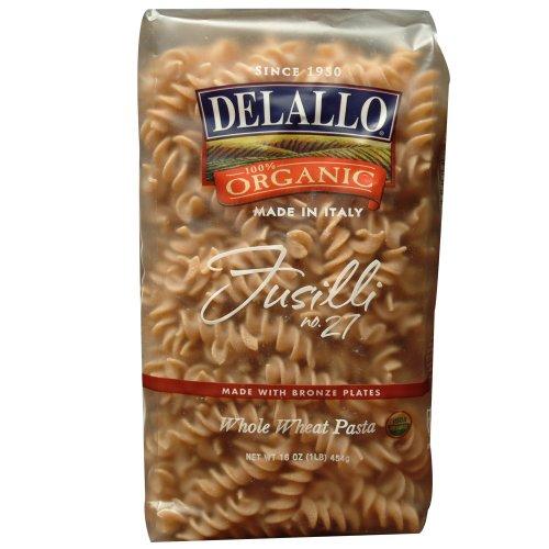 DeLallo Organic Whole Wheat Fusilli #27, 16-Ounce Units (Pack of 16) ()
