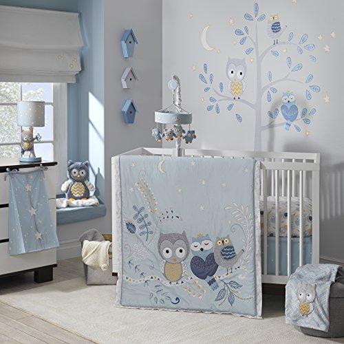 Lambs & Ivy Night Owl Happi by Dena 4 Piece Bedding (4 Piece Crib Set)