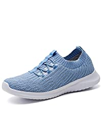 TIOSEBON Women's Lightweight Casual Walking Athletic Shoes Breathable Flyknit Running Slip-On Sneakers