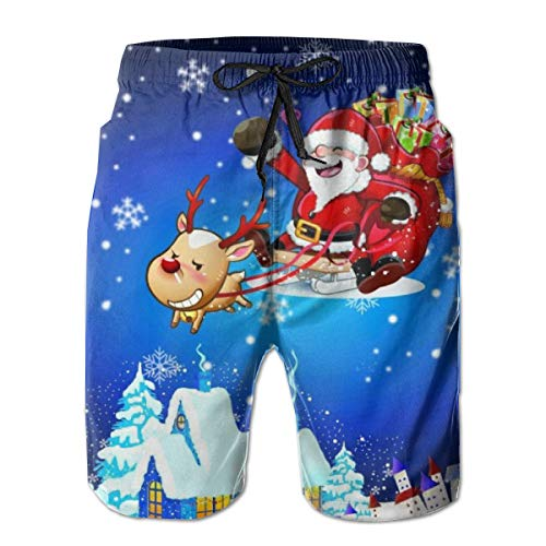(YongColer Mens Swim Trunks Quick Dry Suits Summer Holiday Beach Shorts Santa Claus Riding His Reindeer Sleigh Flying Over Town,XL)