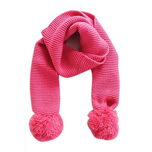 Ularmo Jungen-Mädchen- Winter Warm Strickschal (Hot pink)
