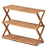 Shoe Cabinet Simple Foyer Large Capacity 3 Layer Solid Wood Bamboo Folding Home Shoe Rack (Size : 60CM)