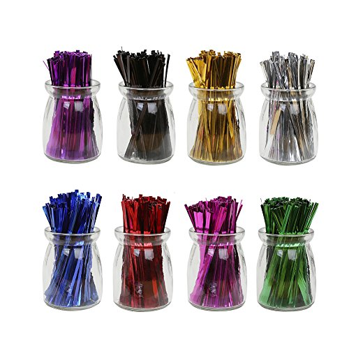 Ties Twist Colored - HRX Package 4'' Metallic Twist Ties Good for Christmas Cello Wedding Party Candy Bags (8 Colors of 1600pcs)