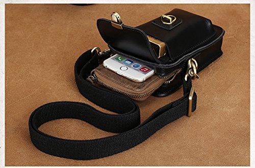 Teléfono Bolsa Piel Hombro Mensajero negro Hombro Negro Escala De Modelshow correa Genuina Cintura Pequeña Movimiento Paquete Mini B1qwU