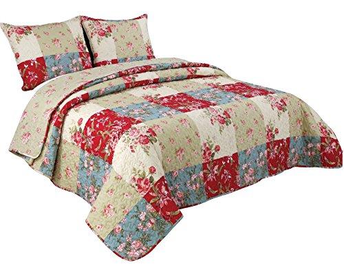 Coast to Coast Living 3-Pc Quilt Sets Cotton Rich Luxurious Soft (Nantucket, Queen) ()