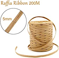 INTVN 2 rollos cinta de Rafia de 200 m de papel de rafia ...