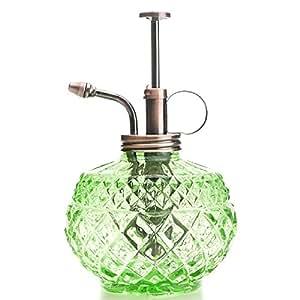 Purismo Estilo Planta Señor - Botella de vidrio de color verde y rociador de latón (cobre antiguo)