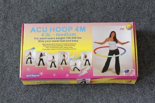 "Sports Hoop® - Acu Hoop® 4M - 4lb (Dia.40"") Medium, Weighted Hula Hoop for Workout with 50 minutes Workout Lesson DVD"