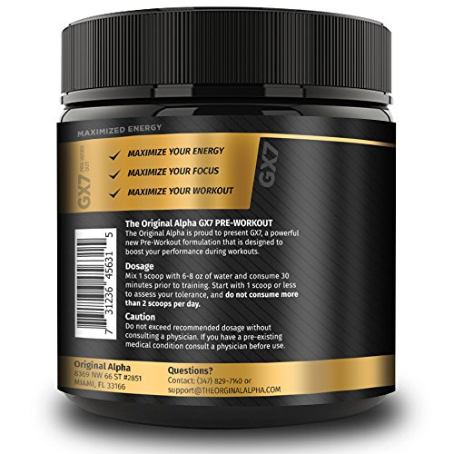 Alpha Gx7 Pre-workout - Maximized Energy - For Workouts 245g - Watermelon Flavor