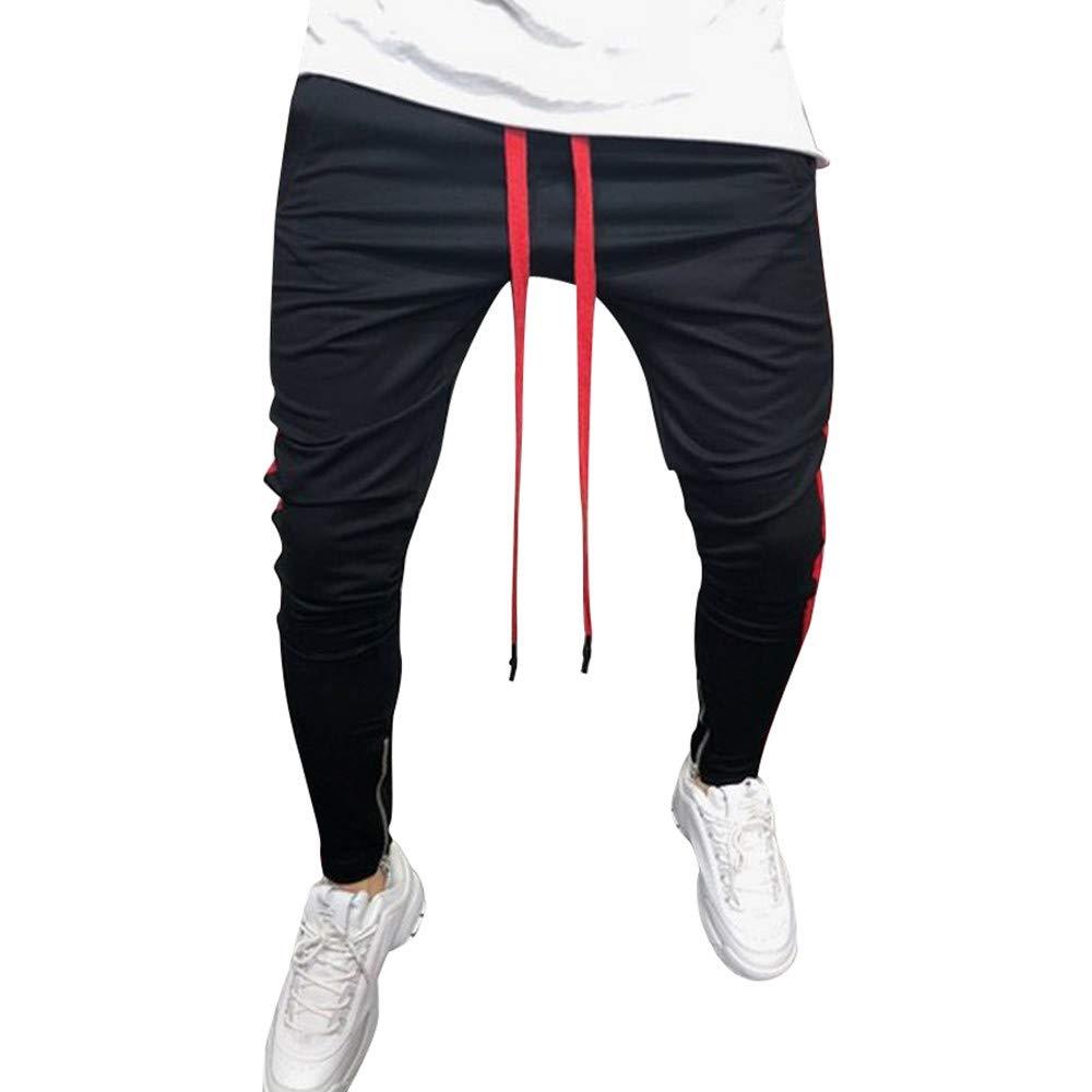 Spbamboo Mens Sweatpants Casual Elastic Joggers Striped Pants Pockets Trousers