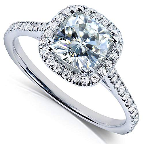 (Cushion-cut Moissanite Engagement Ring 1 1/3 CTW 14k White Gold, Size 5 )