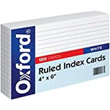 "Oxford Ruled Index Cards, 4"" x 6"", White, 100/Pack (41)"