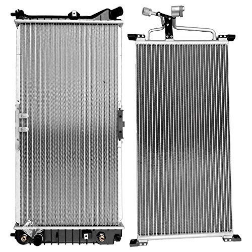 SCITOO Radiator+AC A/C Condenser Compatible with 1999 2000 2001 2002 Oldsmobile Intrigue 3.5L 4806 2421