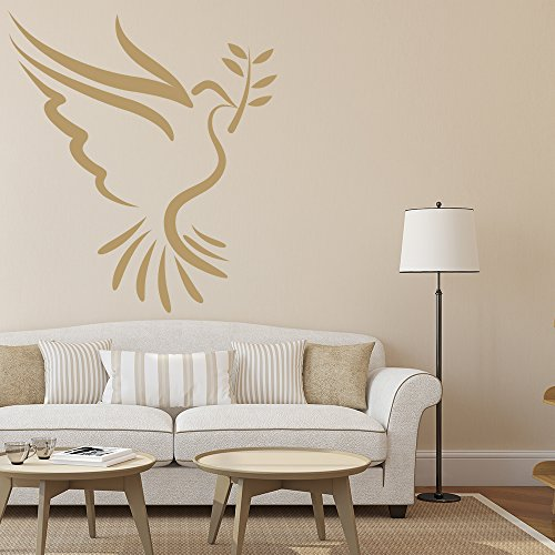 Peace Dove With Olive Branch Birds & Feathers Wall Stickers Home Decor Art Decal available in 5 Sizes and 25 colors X-Small Gold (Olive Golden Branch)