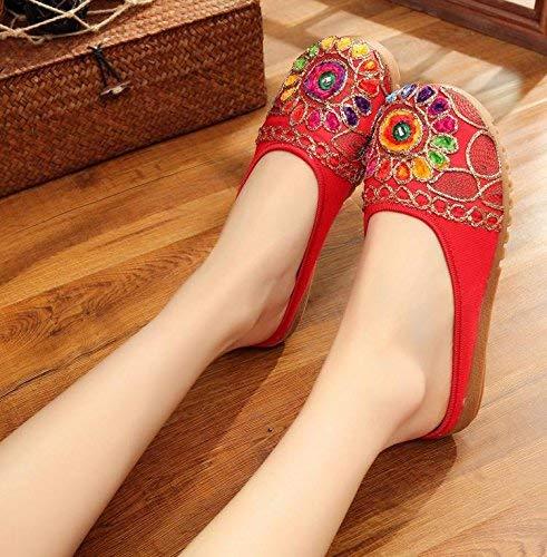 HhGold Bestickte Schuhe Sehnensohle ethnischer Stil weiblicher Flip Sandalen Flop Mode bequem Sandalen Flip rot (Farbe   - Größe   -) 92c5f0