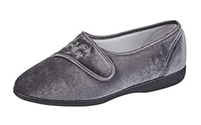 0df2a315813a9 Womens Ladies WIDE FIT EEE Grey Velcro Slippers Shoes 3 - 8 (5 ...