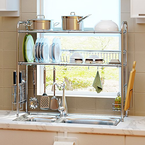 1208S 2-Tier Stainless Steel Dish Drying Holder Rack (Double Groove-Two-layer) by 1208S (Image #7)